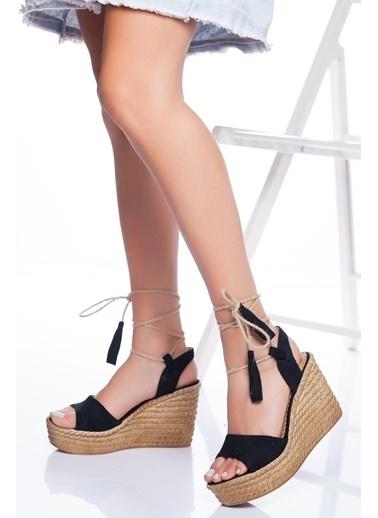 Derithy Derithy-Dolgu Topuklu Ayakkabı-Ten Süet Siyah